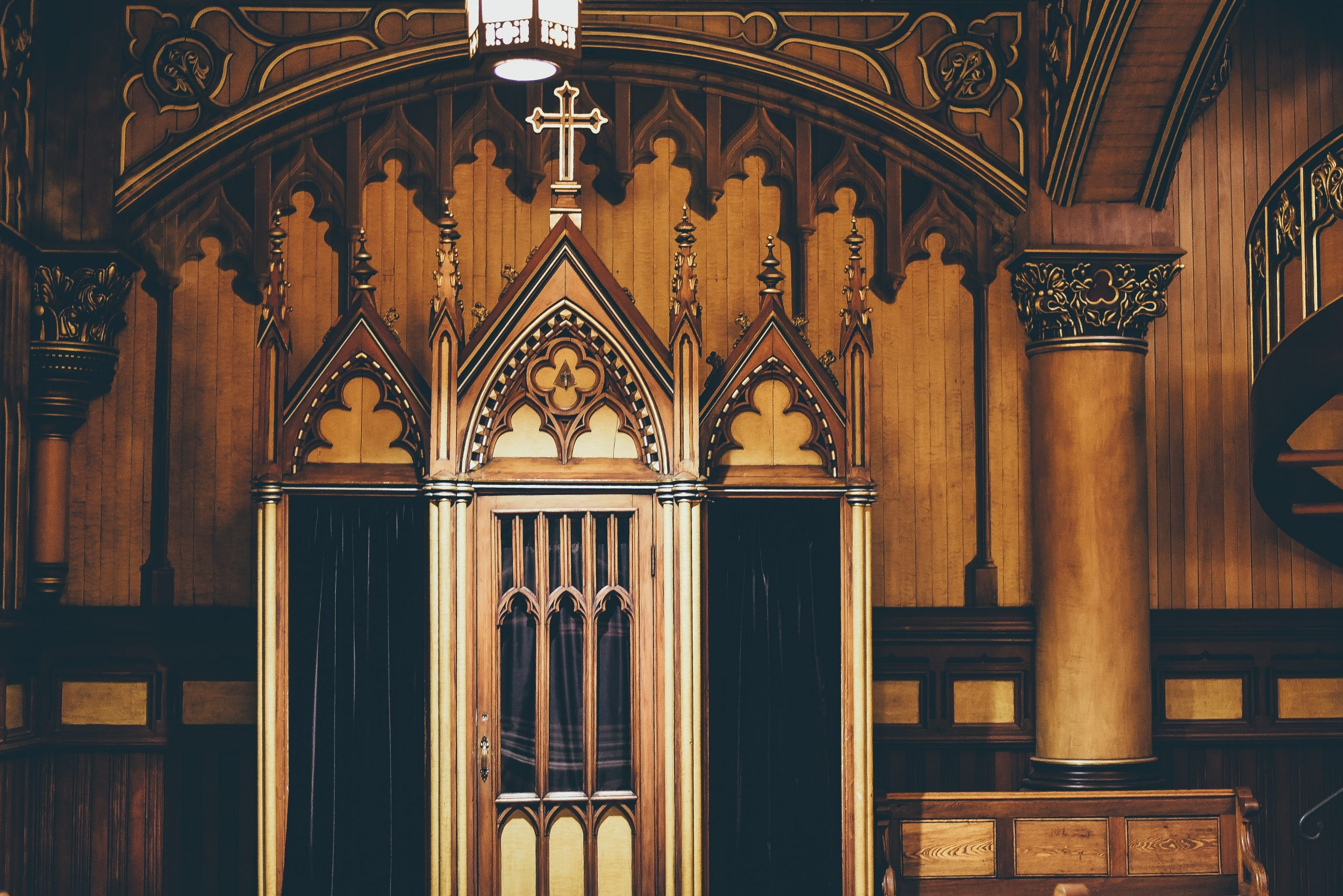 Photo of a confessional in a church